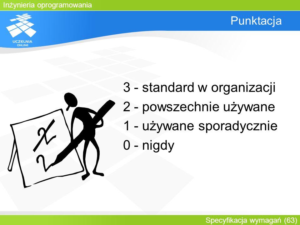 Inżynieria oprogramowania Specyfikacja wymagań (63) Punktacja 3 - standard w organizacji 2 - powszechnie używane 1 - używane sporadycznie 0 - nigdy