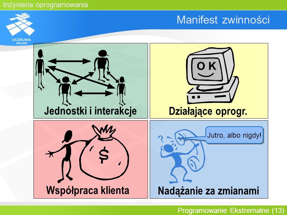 Inżynieria oprogramowania Programowanie Ekstremalne (13) Manifest zwinności Jednostki i interakcje O K Działające oprogr. Współpraca klienta Nadążanie