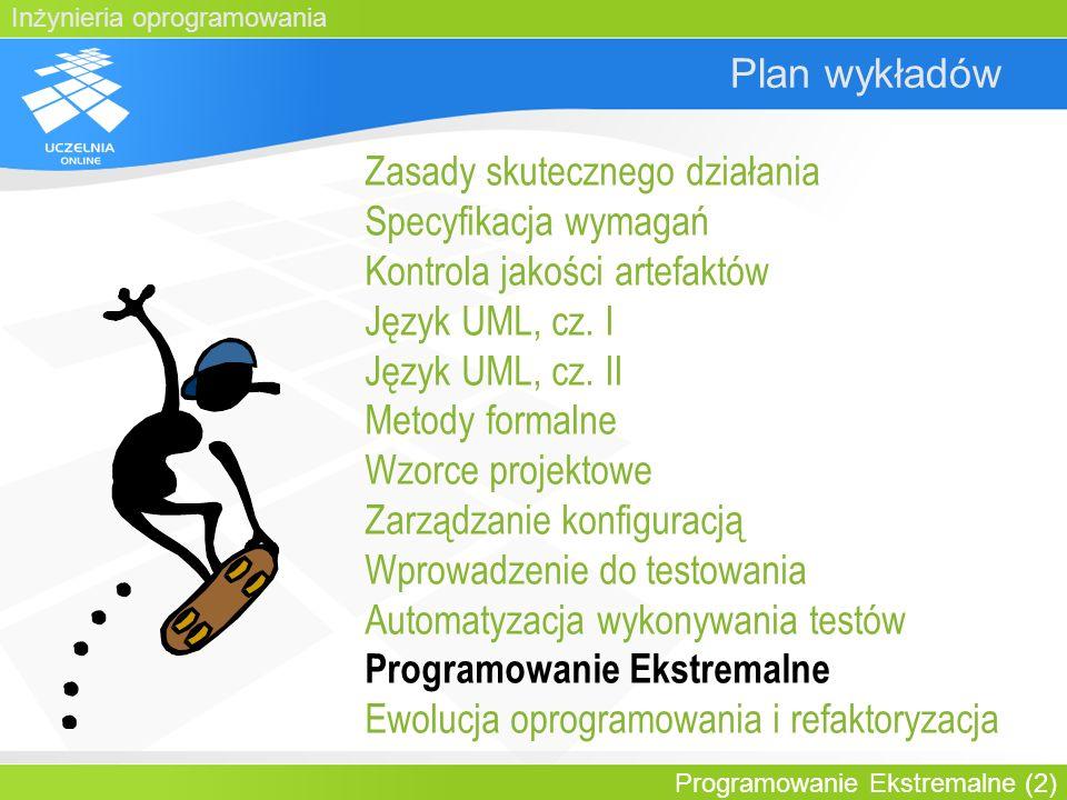 Inżynieria oprogramowania Programowanie Ekstremalne (23) Plan wykładu Wprowadzenie Manifest zwinności Wartości XP Główne reguły i praktyki XP: –Struktura zespołu –Relacje z klientem –Zapewnienie jakości –Programowanie parami Czynniki ryzyka