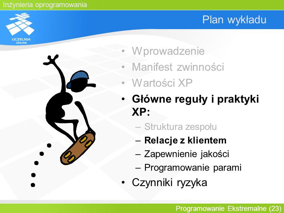 Inżynieria oprogramowania Programowanie Ekstremalne (23) Plan wykładu Wprowadzenie Manifest zwinności Wartości XP Główne reguły i praktyki XP: –Strukt