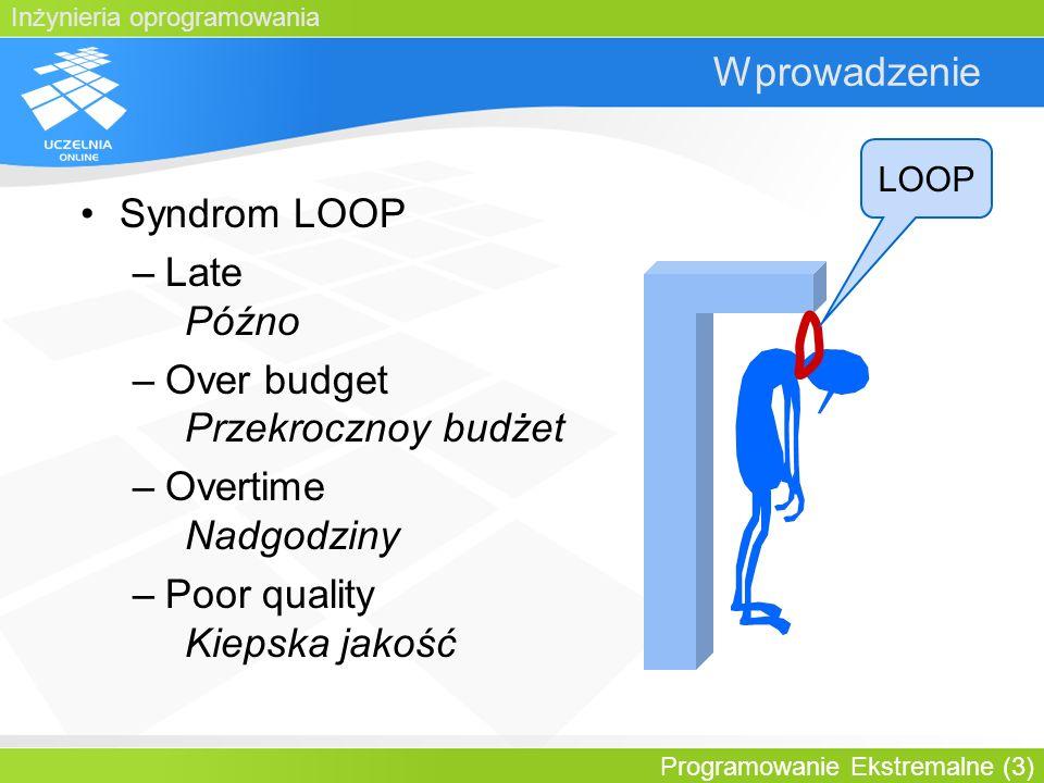 Inżynieria oprogramowania Programowanie Ekstremalne (3) Wprowadzenie Syndrom LOOP –Late Późno –Over budget Przekrocznoy budżet –Overtime Nadgodziny –P