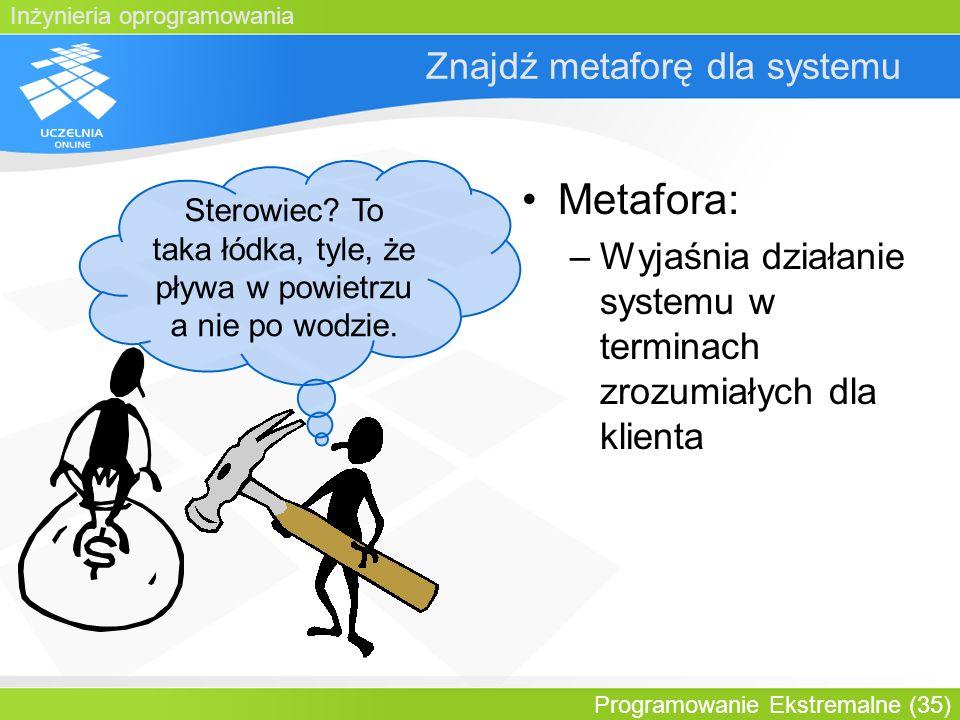 Inżynieria oprogramowania Programowanie Ekstremalne (35) Znajdź metaforę dla systemu Metafora: –Wyjaśnia działanie systemu w terminach zrozumiałych dl