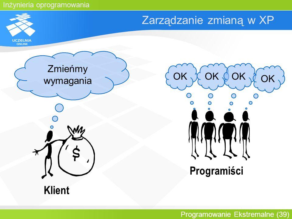 Inżynieria oprogramowania Programowanie Ekstremalne (39) Zarządzanie zmianą w XP Klient Zmieńmy wymagania Programiści OK