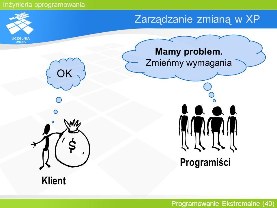 Inżynieria oprogramowania Programowanie Ekstremalne (40) Zarządzanie zmianą w XP Klient Mamy problem. Zmieńmy wymagania Programiści OK