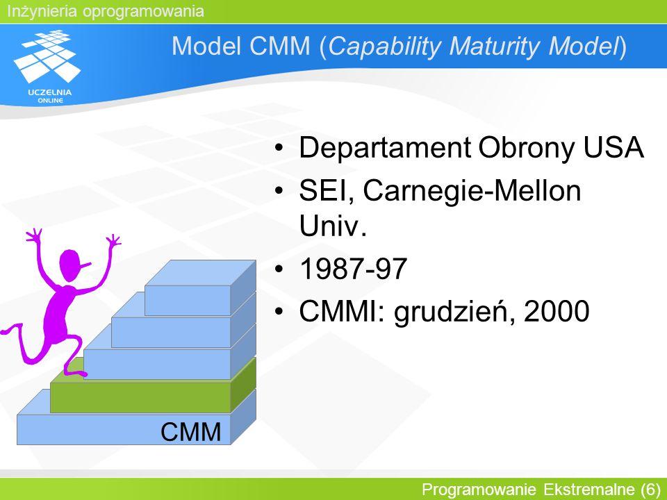 Inżynieria oprogramowania Programowanie Ekstremalne (7) Procedury dla CMM Poziom 2 przeglądy zobowiązań zewnętrznych opracowywanie planu przedsięwzięcia szacowanie rozmiaru, pracochłonności, kosztu, krytycznych zasobów obliczeniowych i harmonogramu dokonywanie zmian w planie przeglądy przedsięwzięcia przy kamieniach milowych planowanie zapewnienia jakości...
