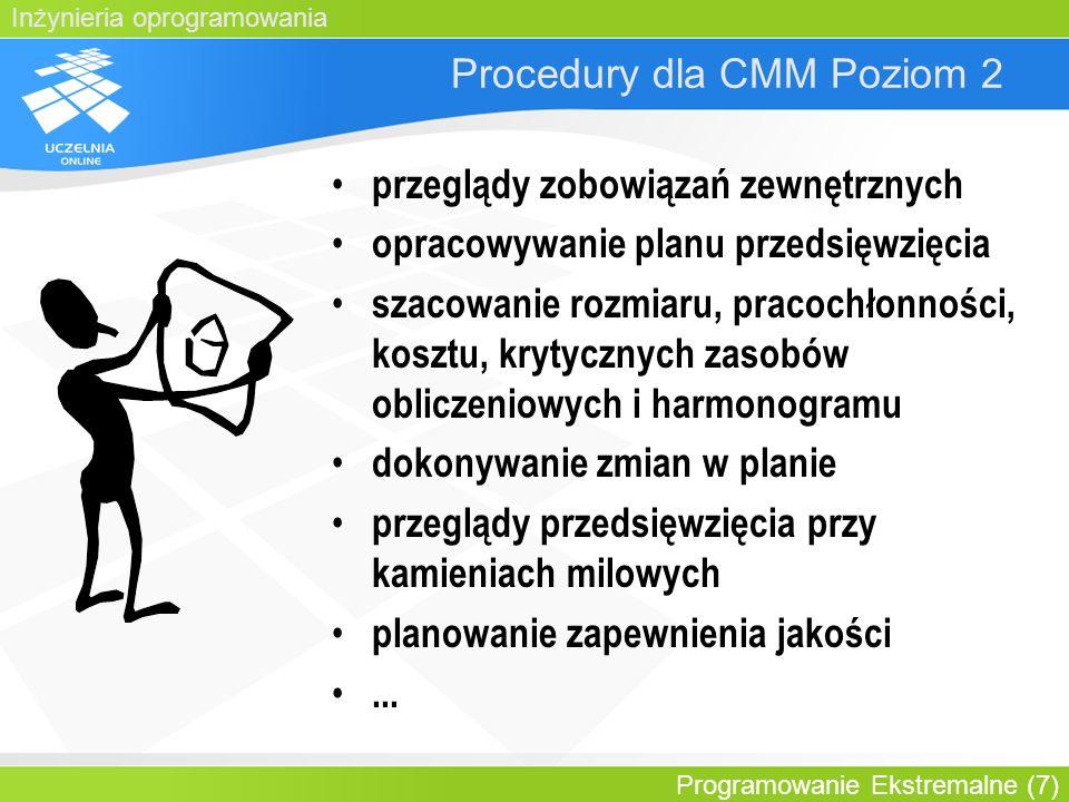 Inżynieria oprogramowania Programowanie Ekstremalne (7) Procedury dla CMM Poziom 2 przeglądy zobowiązań zewnętrznych opracowywanie planu przedsięwzięc