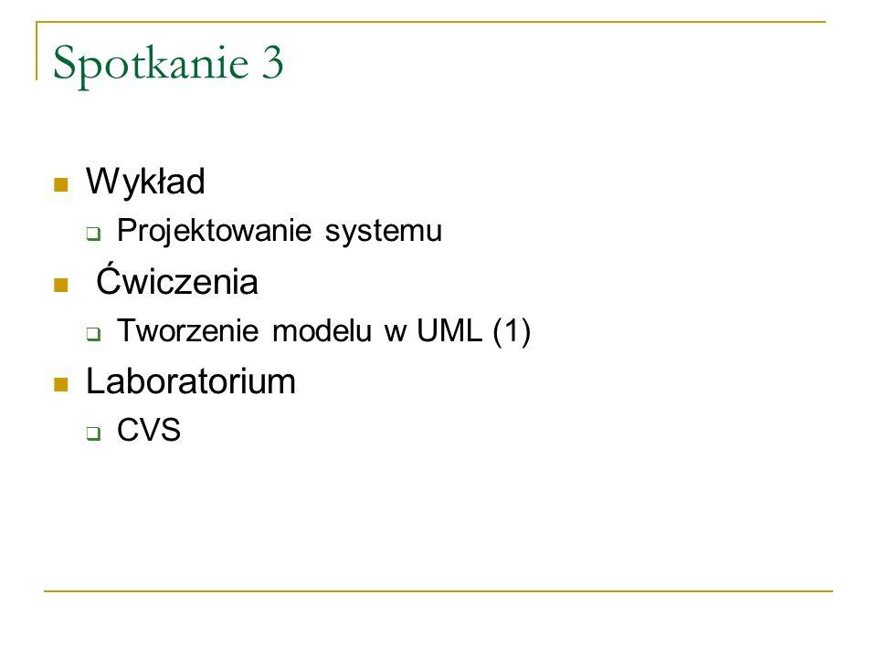 Spotkanie 4 Wykład Modelowanie w UML (2) Ćwiczenia Tworzenie modelu w UML (2) Laboratorium Kolokwium