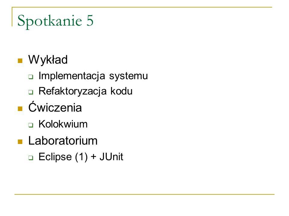 Spotkanie 6 Wykład Testowanie systemu Wzorce projektowe (Design patterns) Ćwiczenia Rozdanie projektów (?) Laboratorium Eclipse (2) – refaktoryzacja, obsługa CVS, JavaDoc