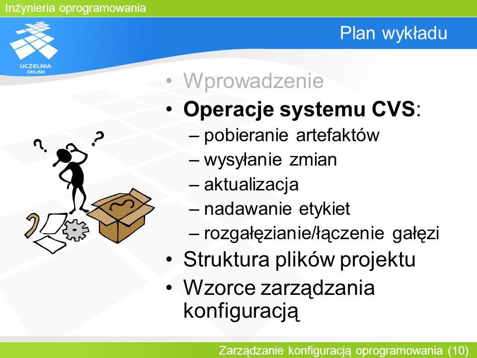 Inżynieria oprogramowania Zarządzanie konfiguracją oprogramowania (10) Plan wykładu Wprowadzenie Operacje systemu CVS: –pobieranie artefaktów –wysyłan