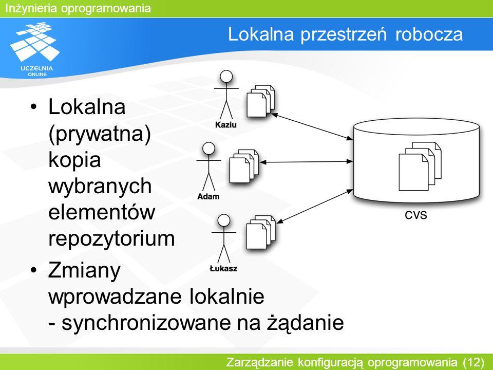 Inżynieria oprogramowania Zarządzanie konfiguracją oprogramowania (12) Lokalna przestrzeń robocza Lokalna (prywatna) kopia wybranych elementów repozyt