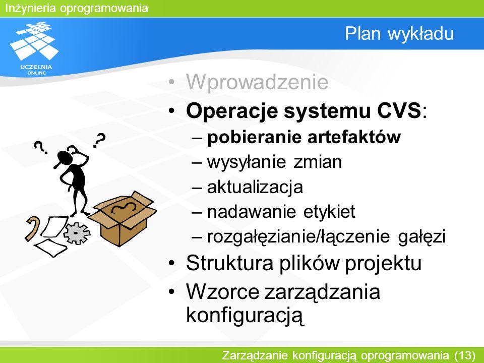 Inżynieria oprogramowania Zarządzanie konfiguracją oprogramowania (13) Plan wykładu Wprowadzenie Operacje systemu CVS: –pobieranie artefaktów –wysyłan