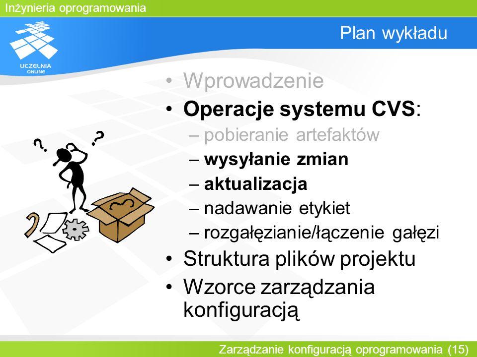 Inżynieria oprogramowania Zarządzanie konfiguracją oprogramowania (15) Plan wykładu Wprowadzenie Operacje systemu CVS: –pobieranie artefaktów –wysyłan