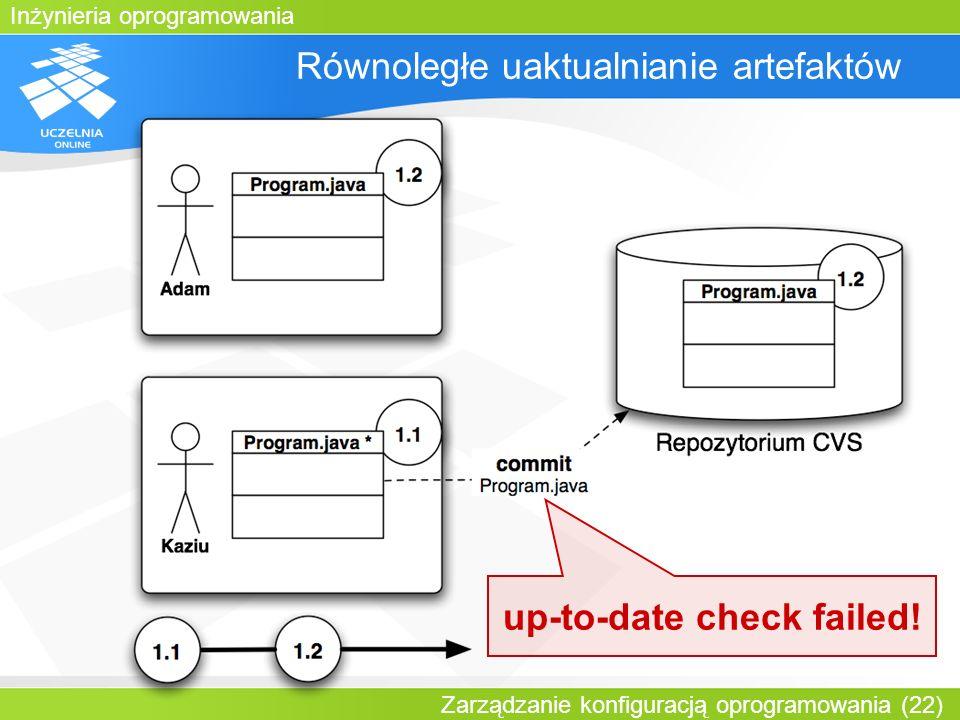 Inżynieria oprogramowania Zarządzanie konfiguracją oprogramowania (22) Równoległe uaktualnianie artefaktów up-to-date check failed!