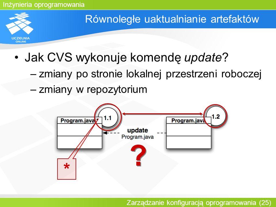 Inżynieria oprogramowania Zarządzanie konfiguracją oprogramowania (25) Równoległe uaktualnianie artefaktów Jak CVS wykonuje komendę update? –zmiany po