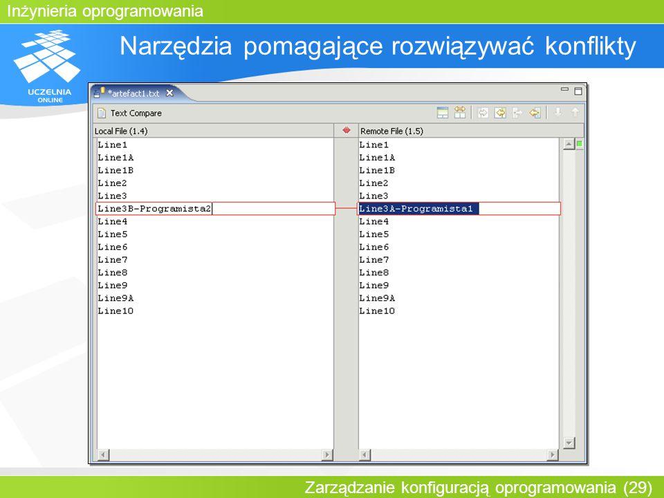Inżynieria oprogramowania Zarządzanie konfiguracją oprogramowania (29) Narzędzia pomagające rozwiązywać konflikty