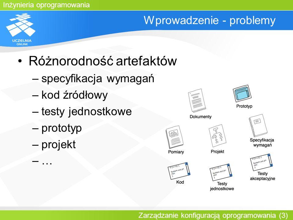 Inżynieria oprogramowania Zarządzanie konfiguracją oprogramowania (3) Wprowadzenie - problemy Różnorodność artefaktów –specyfikacja wymagań –kod źródł