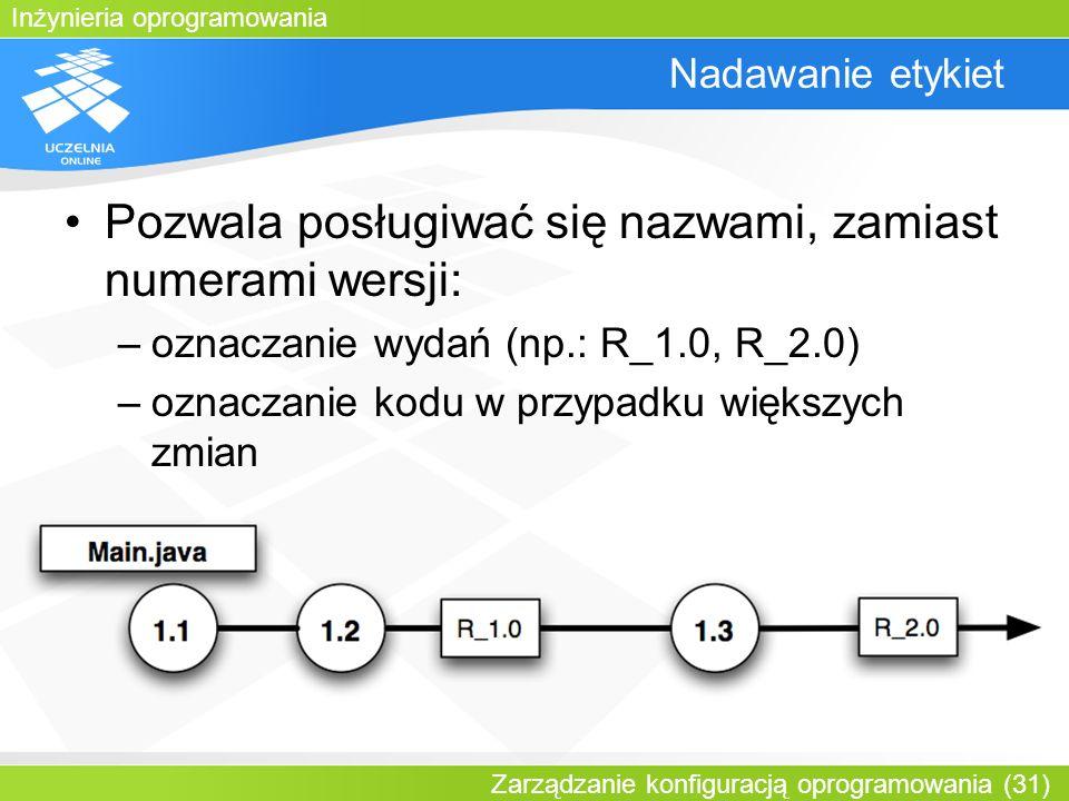 Inżynieria oprogramowania Zarządzanie konfiguracją oprogramowania (31) Nadawanie etykiet Pozwala posługiwać się nazwami, zamiast numerami wersji: –ozn