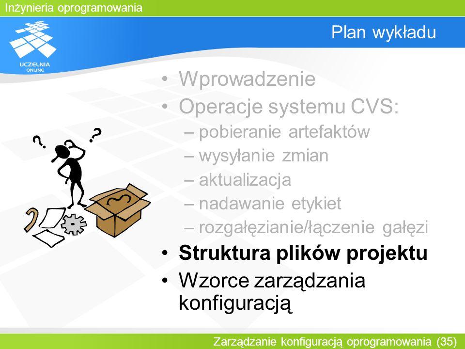 Inżynieria oprogramowania Zarządzanie konfiguracją oprogramowania (35) Plan wykładu Wprowadzenie Operacje systemu CVS: –pobieranie artefaktów –wysyłan