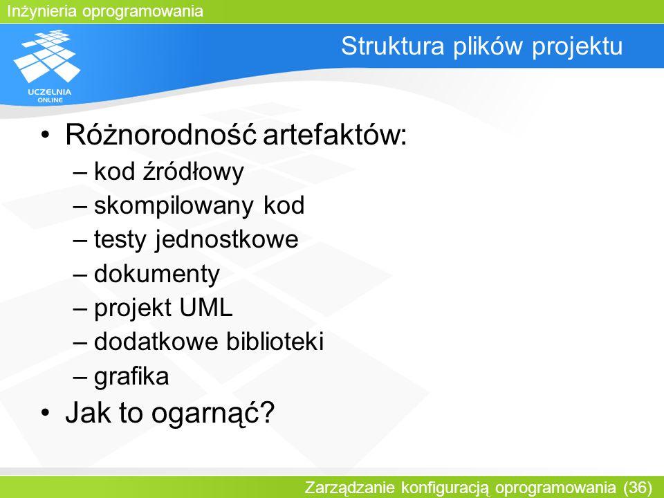 Inżynieria oprogramowania Zarządzanie konfiguracją oprogramowania (36) Struktura plików projektu Różnorodność artefaktów: –kod źródłowy –skompilowany