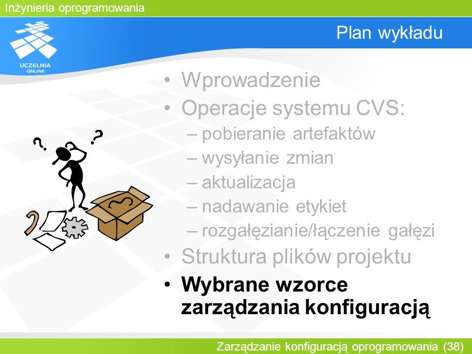 Inżynieria oprogramowania Zarządzanie konfiguracją oprogramowania (38) Plan wykładu Wprowadzenie Operacje systemu CVS: –pobieranie artefaktów –wysyłan