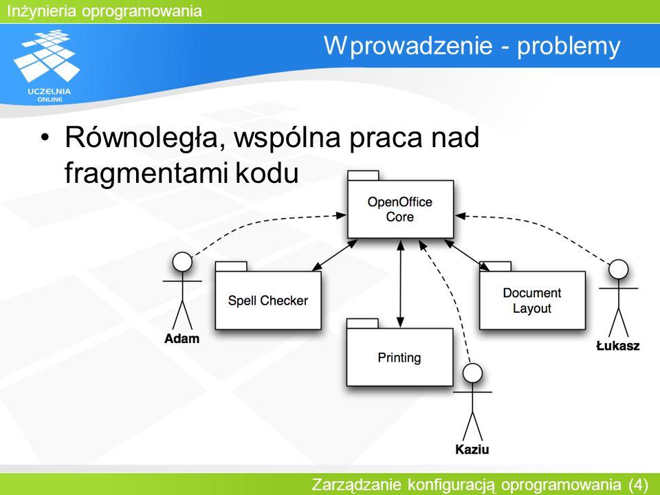 Inżynieria oprogramowania Zarządzanie konfiguracją oprogramowania (15) Plan wykładu Wprowadzenie Operacje systemu CVS: –pobieranie artefaktów –wysyłanie zmian –aktualizacja –nadawanie etykiet –rozgałęzianie/łączenie gałęzi Struktura plików projektu Wzorce zarządzania konfiguracją