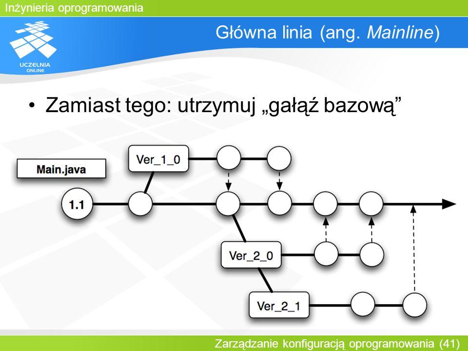 Inżynieria oprogramowania Zarządzanie konfiguracją oprogramowania (41) Główna linia (ang. Mainline) Zamiast tego: utrzymuj gałąź bazową