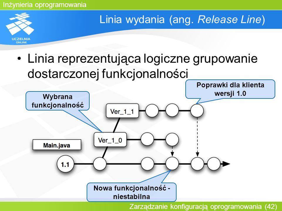 Inżynieria oprogramowania Zarządzanie konfiguracją oprogramowania (42) Linia wydania (ang. Release Line) Linia reprezentująca logiczne grupowanie dost
