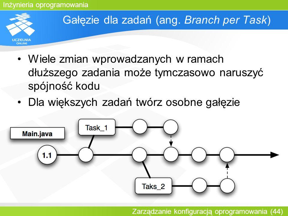 Inżynieria oprogramowania Zarządzanie konfiguracją oprogramowania (44) Gałęzie dla zadań (ang. Branch per Task) Wiele zmian wprowadzanych w ramach dłu