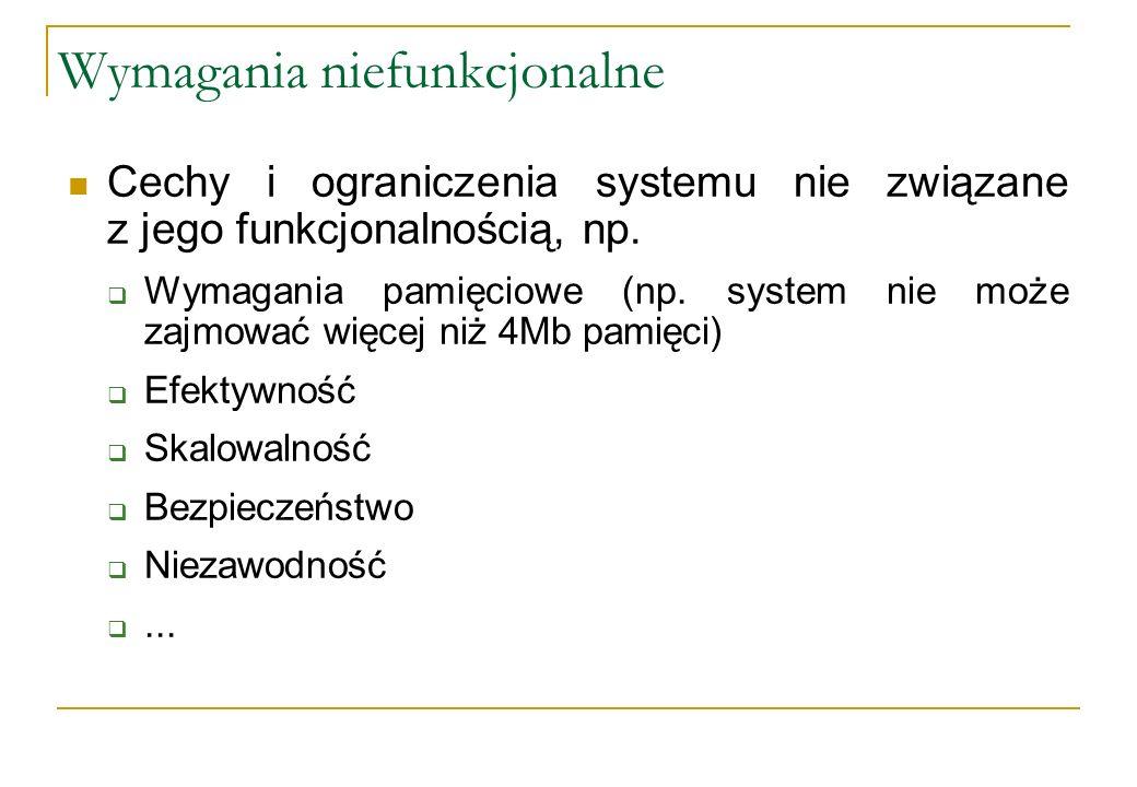 Wymagania niefunkcjonalne Cechy i ograniczenia systemu nie związane z jego funkcjonalnością, np. Wymagania pamięciowe (np. system nie może zajmować wi