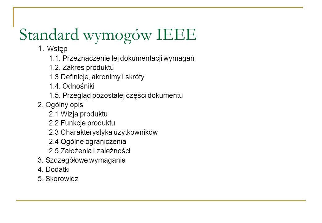 Standard wymogów IEEE 1. Wstęp 1.1. Przeznaczenie tej dokumentacji wymagań 1.2. Zakres produktu 1.3 Definicje, akronimy i skróty 1.4. Odnośniki 1.5. P