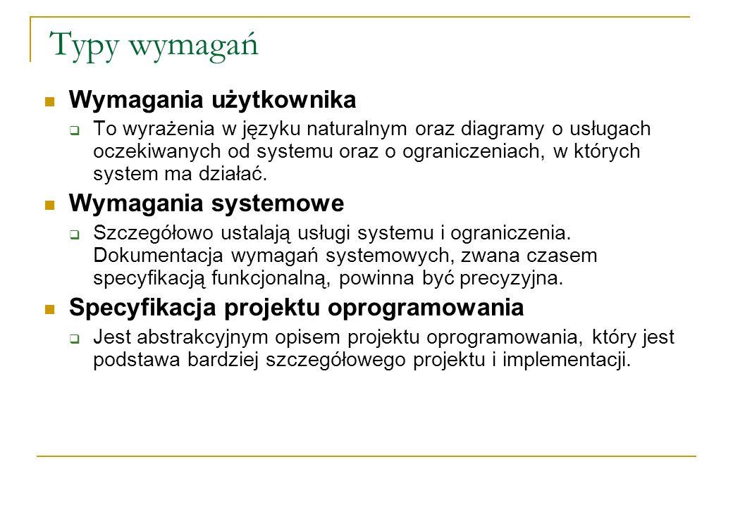 Typy wymagań Wymagania użytkownika To wyrażenia w języku naturalnym oraz diagramy o usługach oczekiwanych od systemu oraz o ograniczeniach, w których