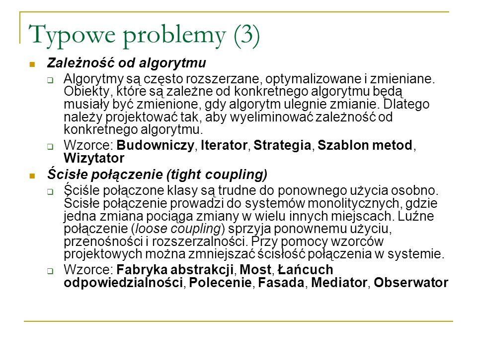 Typowe problemy (3) Zależność od algorytmu Algorytmy są często rozszerzane, optymalizowane i zmieniane. Obiekty, które są zależne od konkretnego algor