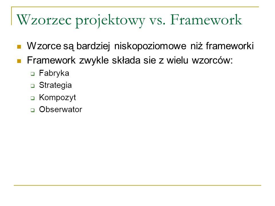 Wzorzec projektowy vs. Framework Wzorce są bardziej niskopoziomowe niż frameworki Framework zwykle składa sie z wielu wzorców: Fabryka Strategia Kompo