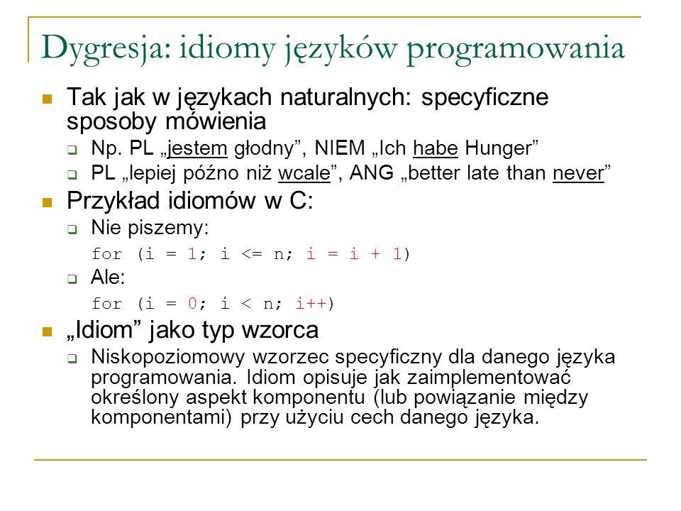 Dygresja: idiomy języków programowania Tak jak w językach naturalnych: specyficzne sposoby mówienia Np. PL jestem głodny, NIEM Ich habe Hunger PL lepi