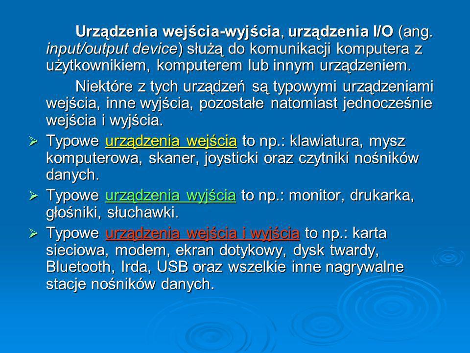 Urządzenia wejścia-wyjścia, urządzenia I/O (ang.