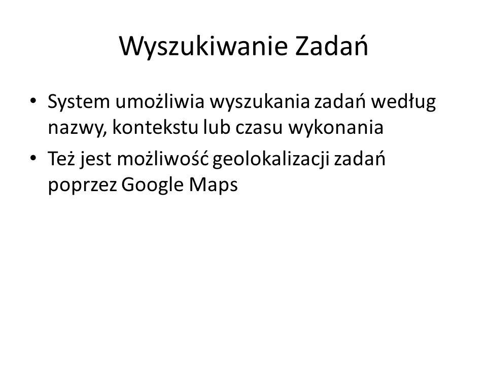 Wyszukiwanie Zadań System umożliwia wyszukania zadań według nazwy, kontekstu lub czasu wykonania Też jest możliwość geolokalizacji zadań poprzez Googl