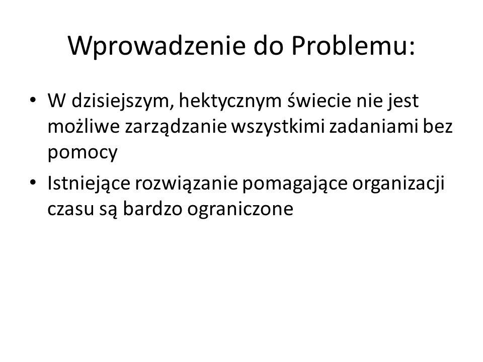 Wprowadzenie do Problemu: W dzisiejszym, hektycznym świecie nie jest możliwe zarządzanie wszystkimi zadaniami bez pomocy Istniejące rozwiązanie pomaga