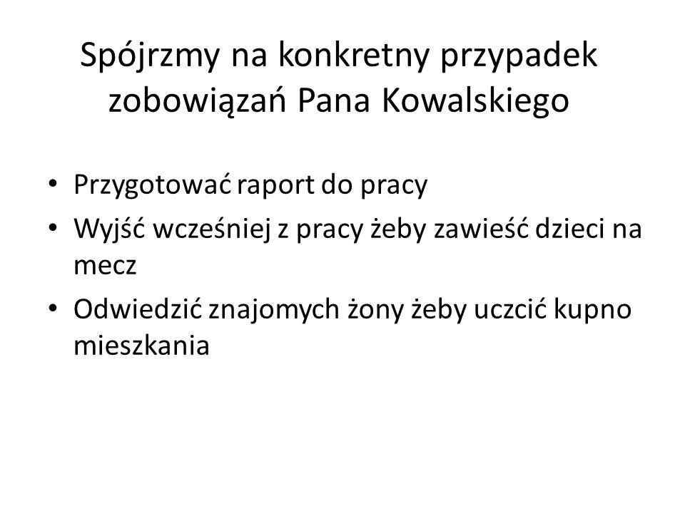 Spójrzmy na konkretny przypadek zobowiązań Pana Kowalskiego Przygotować raport do pracy Wyjść wcześniej z pracy żeby zawieść dzieci na mecz Odwiedzić