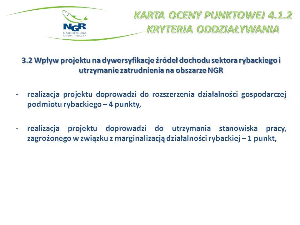 3.2 Wpływ projektu na dywersyfikacje źródeł dochodu sektora rybackiego i utrzymanie zatrudnienia na obszarze NGR -realizacja projektu doprowadzi do ro
