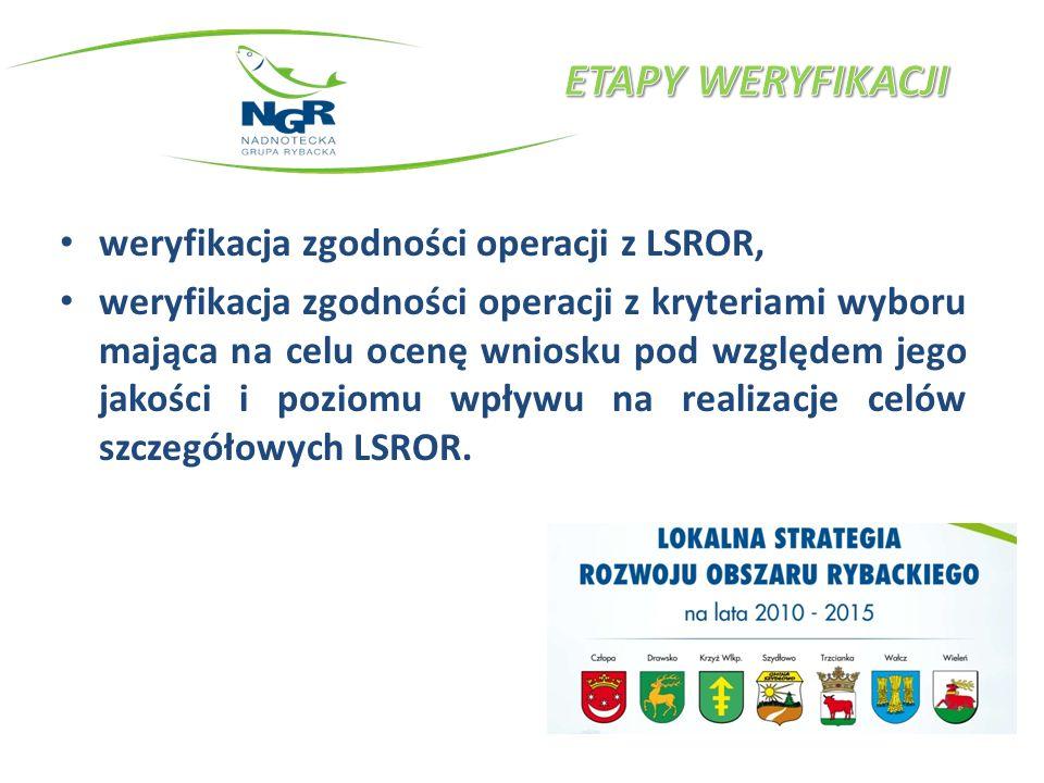weryfikacja zgodności operacji z LSROR, weryfikacja zgodności operacji z kryteriami wyboru mająca na celu ocenę wniosku pod względem jego jakości i poziomu wpływu na realizacje celów szczegółowych LSROR.