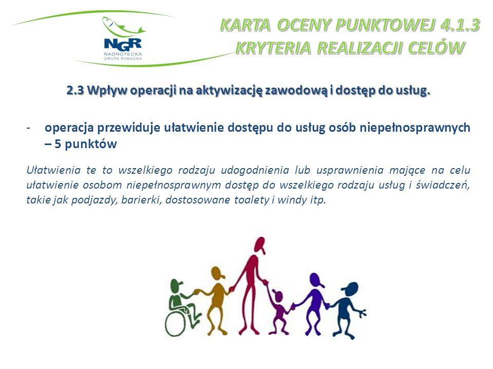 2.3 Wpływ operacji na aktywizację zawodową i dostęp do usług. -operacja przewiduje ułatwienie dostępu do usług osób niepełnosprawnych – 5 punktów Ułat