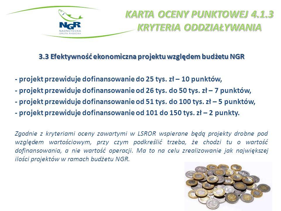 3.3 Efektywność ekonomiczna projektu względem budżetu NGR - projekt przewiduje dofinansowanie do 25 tys. zł – 10 punktów, - projekt przewiduje dofinan