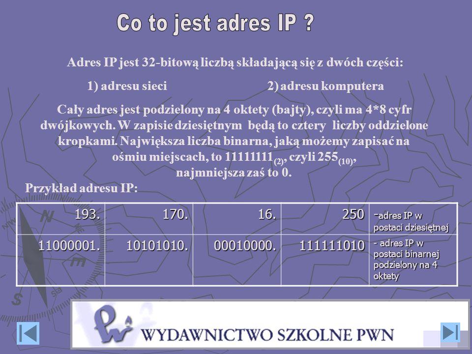 Przykład adresu IP:193.170.16.250 - adres IP w postaci dziesiętnej 11000001.10101010.00010000.111111010 - adres IP w postaci binarnej podzielony na 4