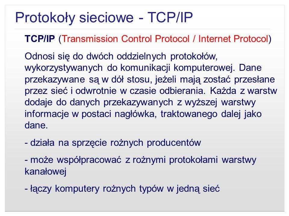 TCP/IP (Transmission Control Protocol / Internet Protocol) Odnosi się do dwóch oddzielnych protokołów, wykorzystywanych do komunikacji komputerowej. D