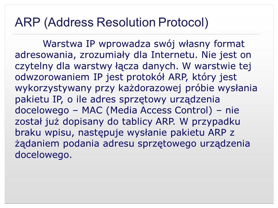 ARP (Address Resolution Protocol) Warstwa IP wprowadza swój własny format adresowania, zrozumiały dla Internetu. Nie jest on czytelny dla warstwy łącz