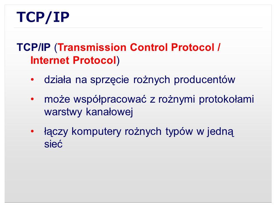 TCP/IP TCP/IP (Transmission Control Protocol / Internet Protocol) działa na sprzęcie rożnych producentów może współpracować z rożnymi protokołami wars