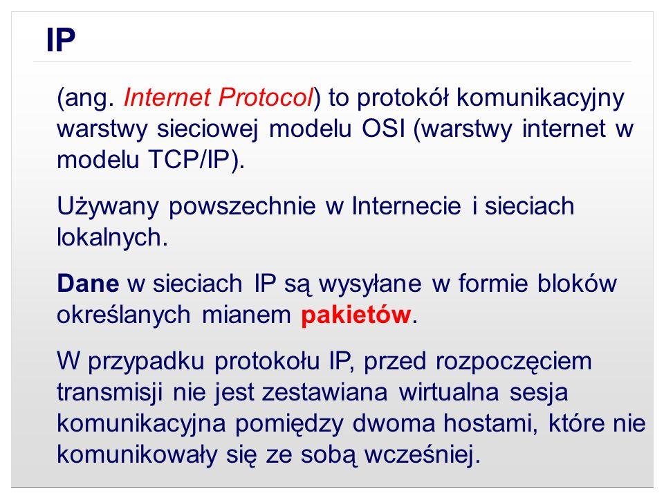 (ang. Internet Protocol) to protokół komunikacyjny warstwy sieciowej modelu OSI (warstwy internet w modelu TCP/IP). Używany powszechnie w Internecie i