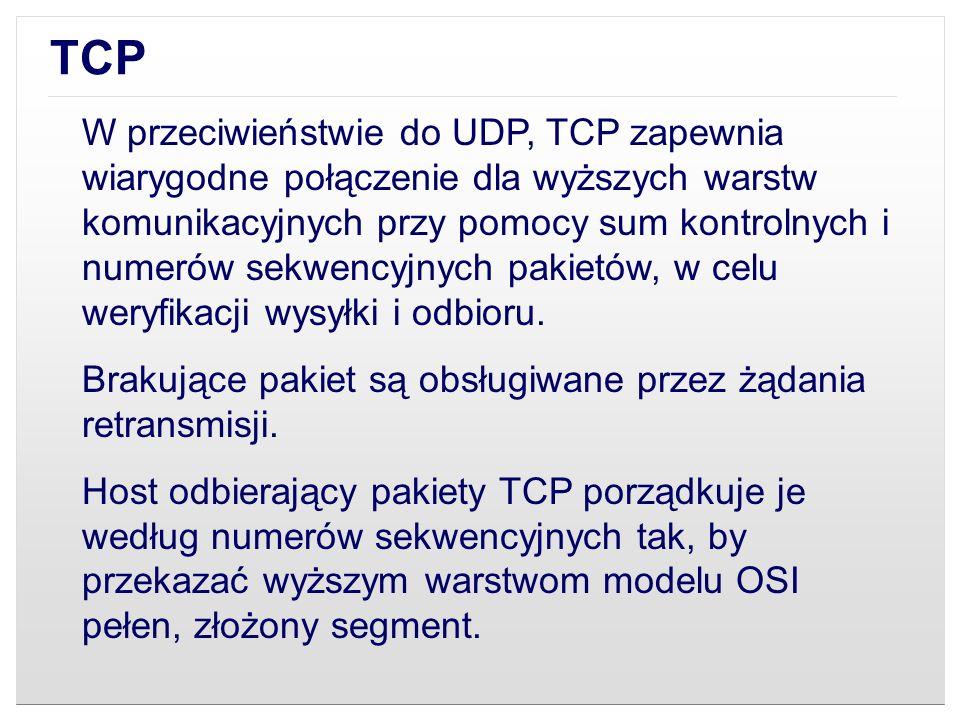 TCP W przeciwieństwie do UDP, TCP zapewnia wiarygodne połączenie dla wyższych warstw komunikacyjnych przy pomocy sum kontrolnych i numerów sekwencyjny