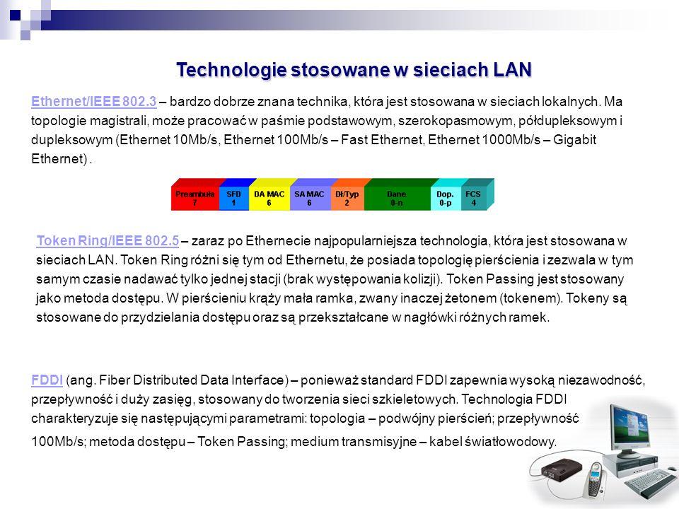 Technologie stosowane w sieciach LAN Ethernet/IEEE 802.3 – bardzo dobrze znana technika, która jest stosowana w sieciach lokalnych. Ma topologie magis