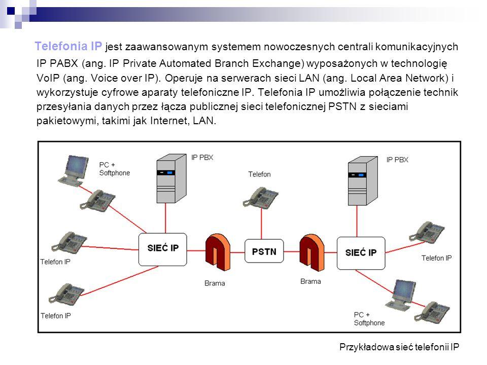 Telefonia IP jest zaawansowanym systemem nowoczesnych centrali komunikacyjnych IP PABX (ang. IP Private Automated Branch Exchange) wyposażonych w tech